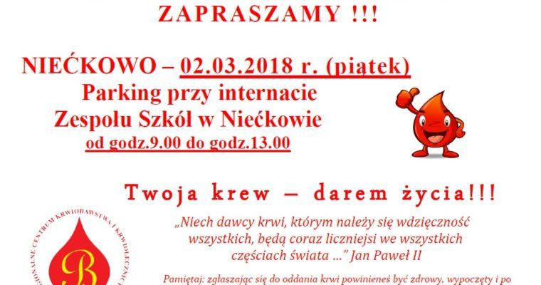 Akcja krwiodawstwa w Zespole Szkół w Niećkowie