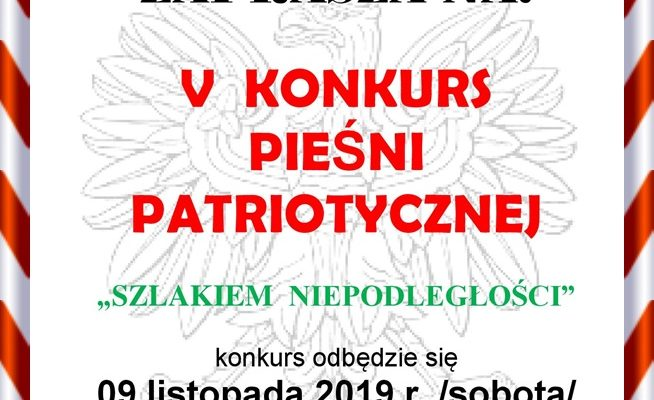 Zaproszenie na konkurs pieśni patriotycznej