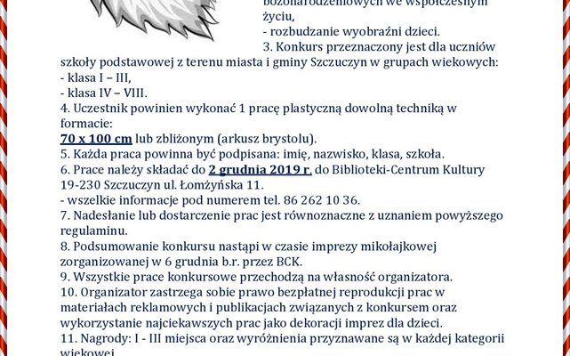Zaproszenie do konkursu Mikołajkowego