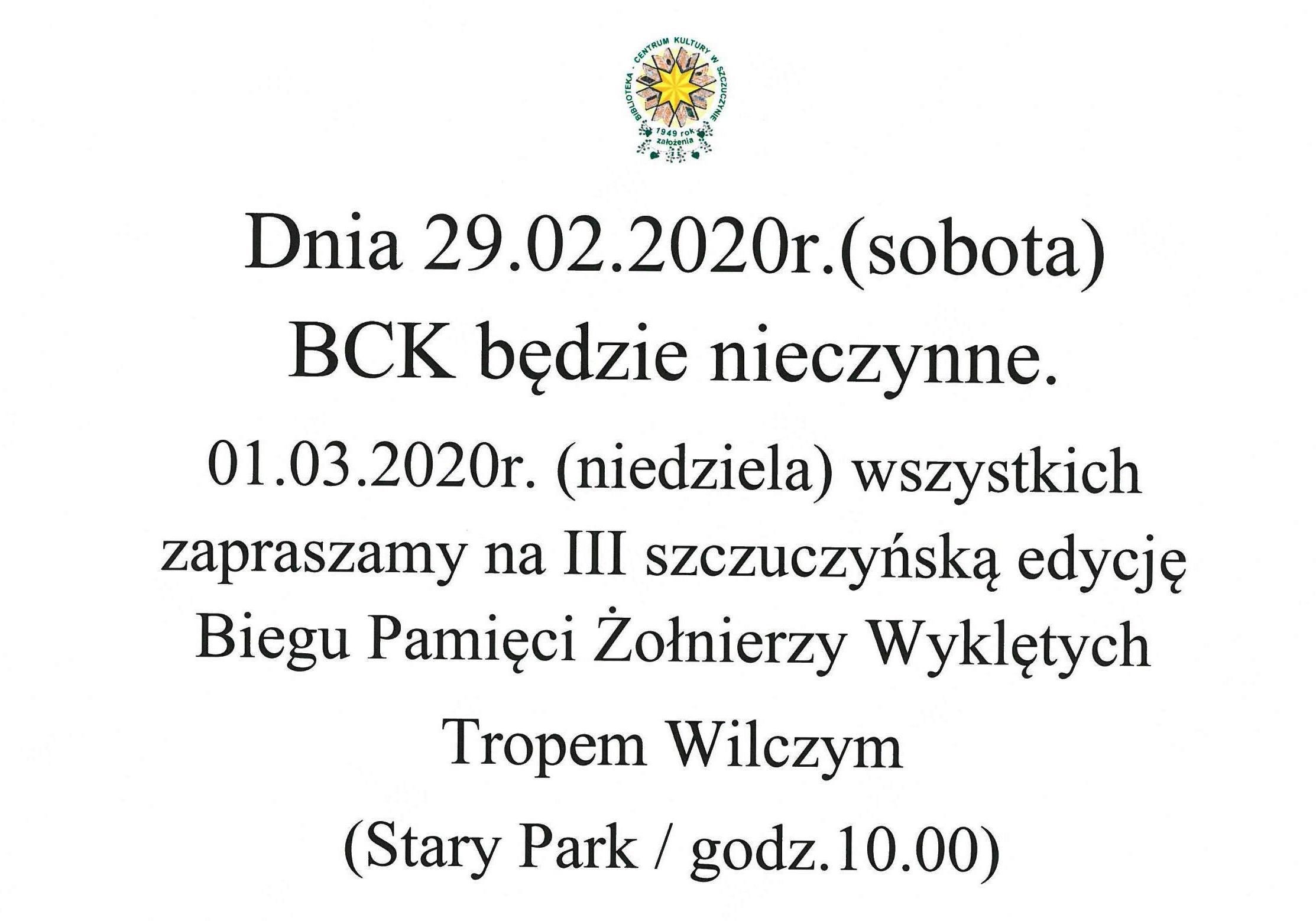29.02.2020r. BCK będzie nieczynne